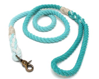 4 FT Teal Ombre Rope Dog Leash MACHINE WASHABLE