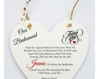Personalised Friendship Bridal Party Wedding Poem Thank You Heart Sign Plaque.
