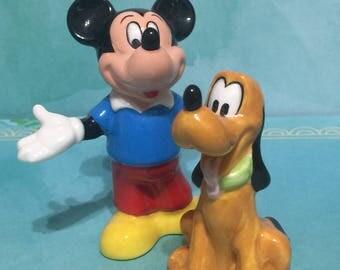 Mickey and Pluto Ceramic Figurines Salt n Pepper Shakers / 1980s