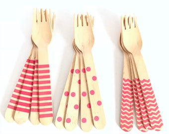 Set of 12, wooden Party forks, polka dot, chevron, Stripes, hot pink, birthday decoration, party decorations, baby shower, party supply