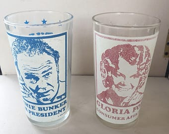 Vintage Archie Bunker Glassware, Two Glasses, Archie and Gloria, Archie Bunker for President, All in the Family, Vintage 1970