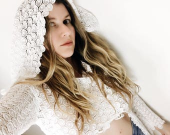 White Lace Cloak with Hood 60s 70s Vintage Sheer Crochet Midriff Top Crop Cropped Boho Bohemian Goddess Festival Clothing Hippie Hippy Gypsy
