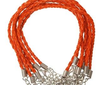 Orange faux leather braided bracelet 20cm