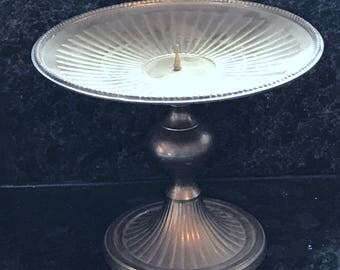 Large Vintage Brass Pedestal Candle Holder, Pillar Style Candles, Scalloped Edges, One Piece, Made In India, Beautiful Home Decor, 022
