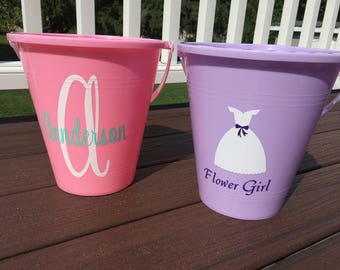 Adorable Personalized Sand Pails-Great for Flower Girl Gifts, or Birthday Gifts!