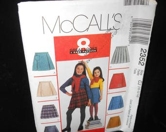 Childrens Skort McCalls 2352 Girls Skorts Sizes 10 12 14 Pattern Flat front Wrap Pleats