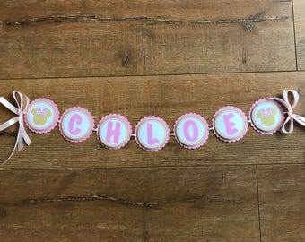 Minnie Mouse Pink & Gold Party Banner for Birthdays, Baby Shower, Christening, Bridal Shower, Naming Day