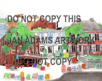 Town of EDWARDSVILLE ILLINOIS- Watercolor Painting for High School Graduation Gift Full of Memories or Retirement or House Warming gift
