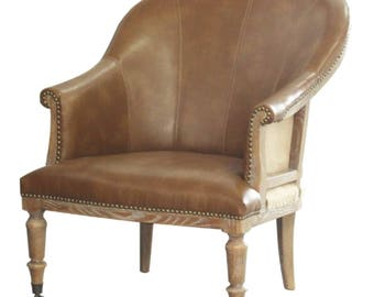 Leather Tub Chair Classic with Brass Wheel Casters and Burlap Back