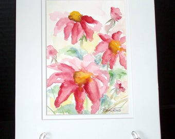 Pink Daisies Original Watercolor Painting