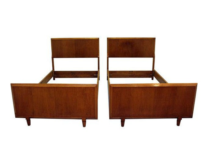 Pair of Mid-Century Danish Modern Twin Size Bed Frames