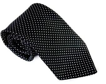 Vintage Tie,Black and White Tie,Pin Dot Necktie, Polyester Tie,EATON Tie,Polka Dot Tie,Retro Tie,Vintage Accessory,Bartender Server Tie
