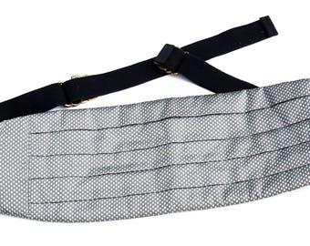 Vintage Silk Cummerbund,Mel Howard Grey & Silver Cummerbund Belt,One Size Fits All,Groom Wedding Attire,Formal Tuxedo Accessories,Black Tie