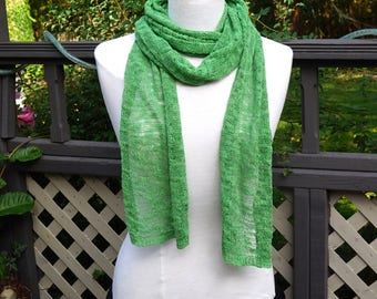 "Vintage Knit Scarf,Extra Long Scarf,Greenr Scarf,91"" x  11.8"" Oblong Scarf,Warm Winter Scarf, Loosely Woven Knit Scarf,Unisex Gender Neutral"
