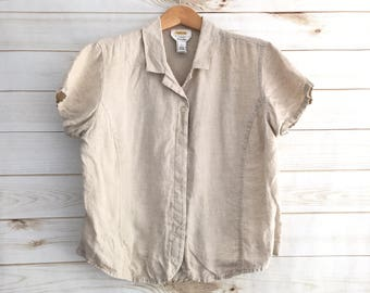 Vintage Tan 100% linen Short Sleeve Blouse Large