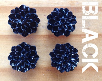 Dahlia Cabochons - Pack of 4 - Black - Blue - Buttercream - Hot Pink - Lavender - Lemon - Lilac - Lime - Flowers - Resin - Flatback