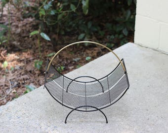 Mid-Century Black and Gold Magazine Holder / Mid-Century Punched Metal Magazine Rack / Punched Metal Log Caddy / Metal Magazine
