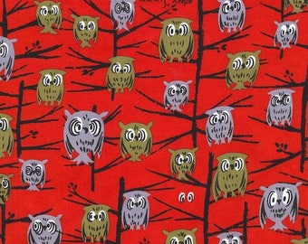 Closing Sale Tammis Keefe Night Owl in Red Michael Miller Fabric cute! vhtf Rare Oop BTHY By the QUARTER Yard