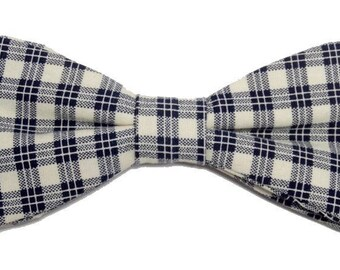 Bow tie Plaid Navy Blue and cream with straight edges
