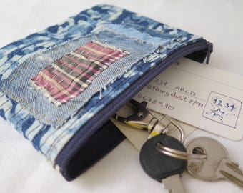 Blue upcycled jeans and linen coin purse, Hand sewn textile art small purse, Eco friendly vegan cards purse