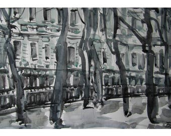 Winter boulevard - original watercolor
