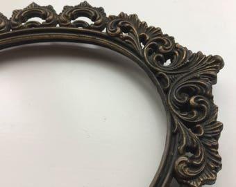 Brass Frame, Oval Vintage Ornate Frame, Rustic Mirror Frame, Craft Supply,Picture frame,Decoration