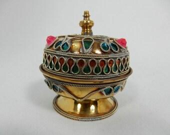 Vintage Brass Trinket Jewelry Box with Faux Gemstone Decoration Pink Green