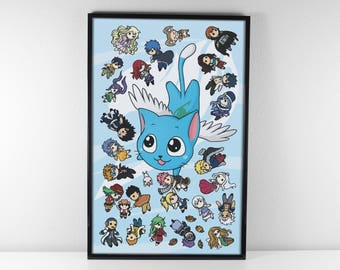 Happy and Friends - Fairy Tail 11x17 Print