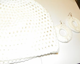 White hand crochet hat beanie skullie chemo cap with matching crochet earrings