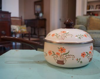 Vintage JMP Countryside Collection Enamelware Pan With Lid