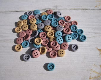 """Set of 10 small wooden """"pastel"""" buttons"""