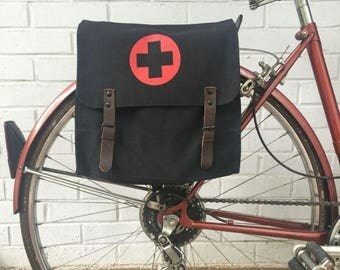 Discounted Regular Price Vintage Black Military Surplus Style Messenger Bag Bicycle Pannier with Medic Logo