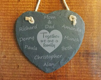 Together We Are A Family Slate Heart Wall Hanging - Personalized Family Ornament - Custom Engraved New Baby Adoption Marriage Blended Family