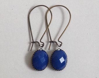 Handmade drop earrings with embellished stone