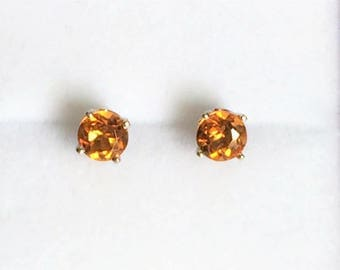 14K White Gold Gemstone Studs, Round Brilliant Golden Brown Topaz, 5mm, 1.50 carats T.W. Incredible Golden Color