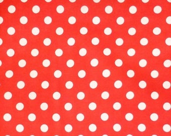 Summer Sale- Red with White Dots, Printed by Lecien, By the Yard, 44/45 Inches Wide M121