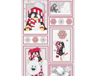 """Summer Sale- Arctic Antics Flannel Panel 24"""" x 44""""~ Christmas Cotton Fabric by~Henry Glass~Fast Shipping HC340"""