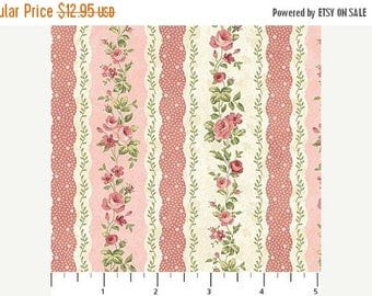Summer Sale- Vintage Rose~Stripe on Pink~Cotton Fabric,~Northcott~Fast Shipping F967