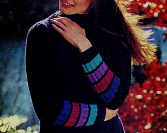 Striped Cuff Pullover Sweater Vintage Knitting Pattern Download