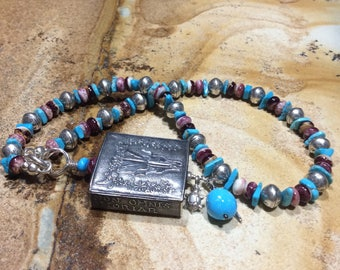 Anne Choi Pendant-Sleeping Beauty Turquoise-Kingman Turquoise-Spiny Oyster-Fine Sterling Beads-Charms-18 inch-Circle Push Clasp