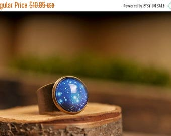 20% OFF Galaxy ring, adjustable ring, statement ring, universe ring, antique brass ring, glass dome ring, space ring, world ring, galaxy jew