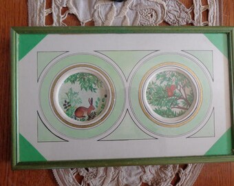 frame handmade with two smaller lapino engravings and Mr. squirrel nibbling bouncy