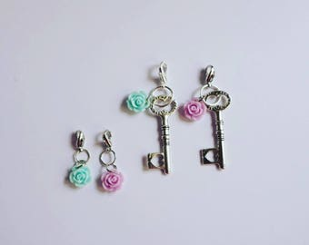 Small Pastel Rose with Silver Key Charm. 5 Options. Pastel Pink or Blue Resin Flower. Traveller's Notebook Planner Bling. TN Charm or Zipper