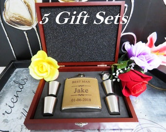 Set of 5 Personalized Flask Keepsake Boxes // Great Gift for Best Man, Groomsman, Father of Bride, Bridesmaid, Usher, Officiant, & More