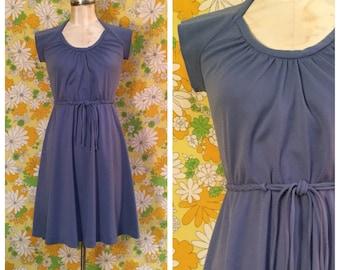 70s Vintage Periwinkle Blue Dress Small Medium