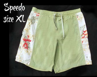 vintage Speedo swim trunks - green swim trunks, swim shorts, surf shorts, men's summer shorts,  swim trunks,  size XL,   # 145
