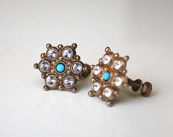 Vintage 1930s Earrings Victorian Revival Screw Back Rose Gold Finish Turquoise and Rhinestone Dainty Jewelry Small Earrings