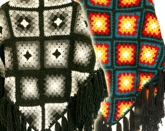 Shawl, Crochet shawl. Granny squares, To order, Triangular shawl, Fringeв cover-up, Plus-size cover up, Colored cozy shawl WESTERN WIND