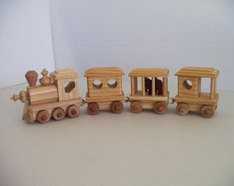 Wood Circus Train with steam locomotive and elephant car