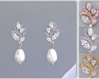 Crystal Bridal Earrings, Bridal Earrings,Pearl Drop Earrings, Bridal Stud Earrings, Bridal Jewelry, Pearl Wedding Earrings, ZARA